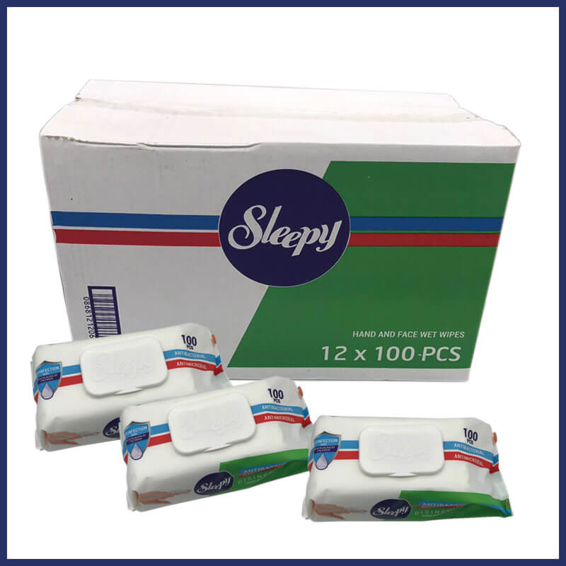 Sleepy Surface & Hand Wipes Box of 12 Packs 100 wipes per pack