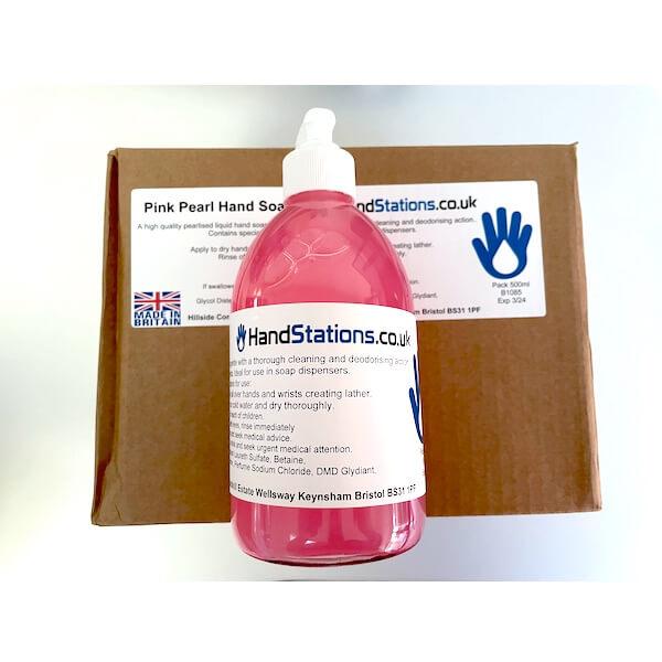 Pink Pearl Liquid Hand Soap 500ml Pump Top Bottles x6